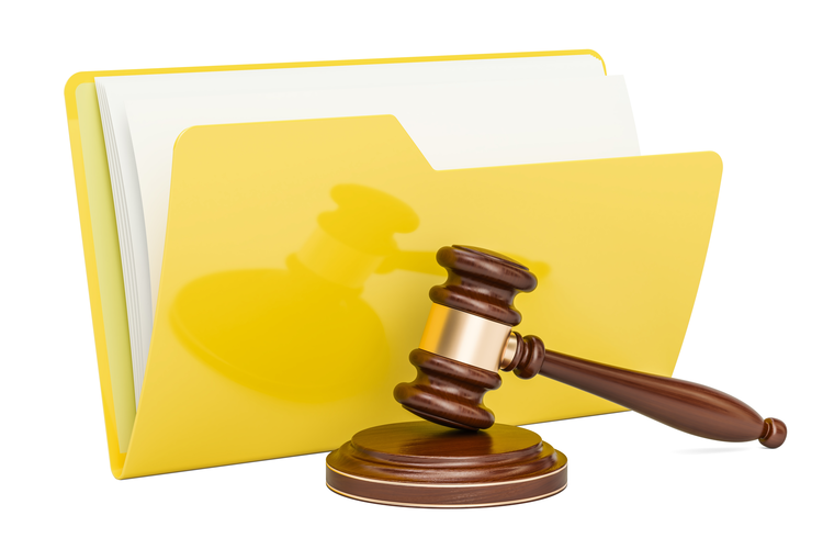 Folder icon with wooden gavel.
