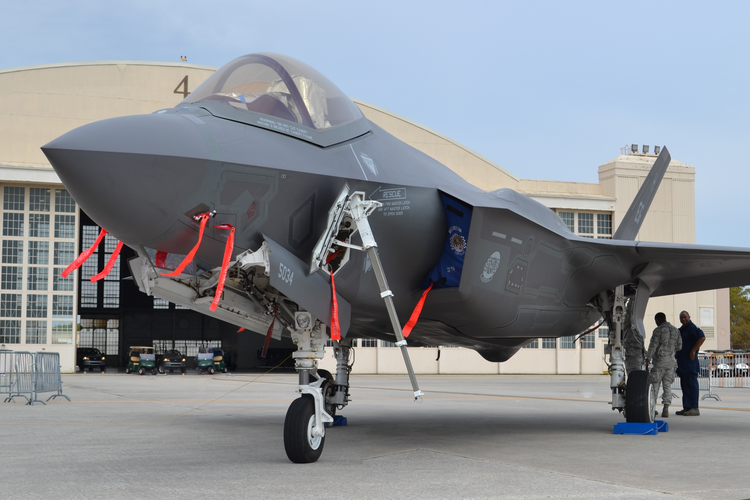 A U.S. Air Force F-35 Joint Strike Fighter (Lightning II) jet at MacDill Air Force Base.