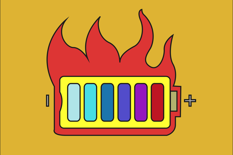Battery icon showing overheating or explosion.