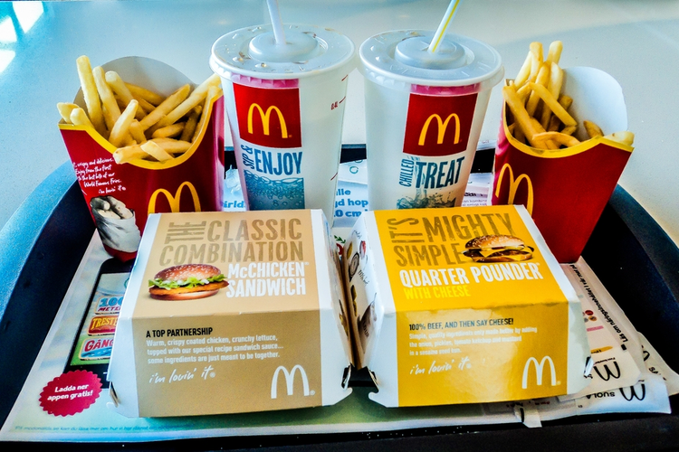 Food and beverages from McDonald's on a tray