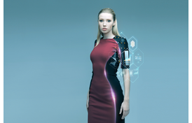 Woman wearing high tech clothing