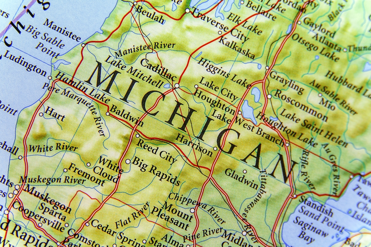 Geographic map of Michigan.