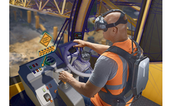 Man using HP's virtual reality backpack for an industrial application