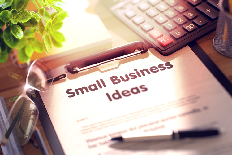 Small Business Ideas on Clipboard.