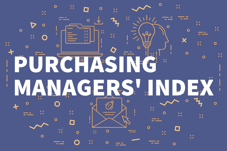 Conceptual business illustration with the words purchasing managers' index.