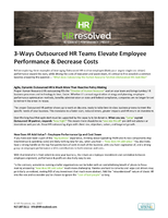 3-Ways Outsourced HR Teams Elevate Employee Performance & Decrease Costs