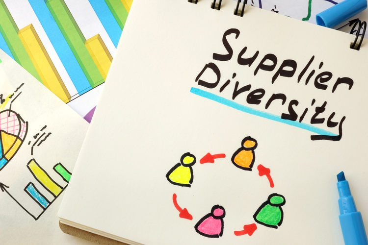 Supplier Diversity illustration on a page of notebook.