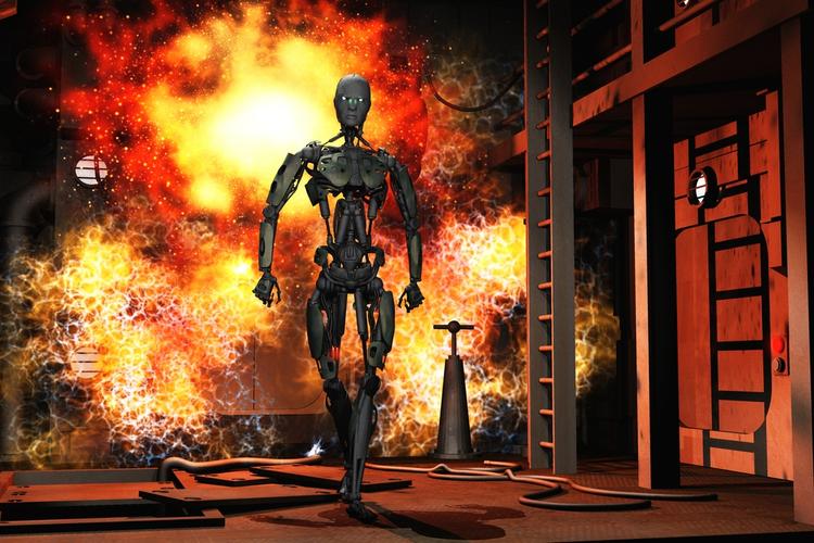 Robot walking away from fire.