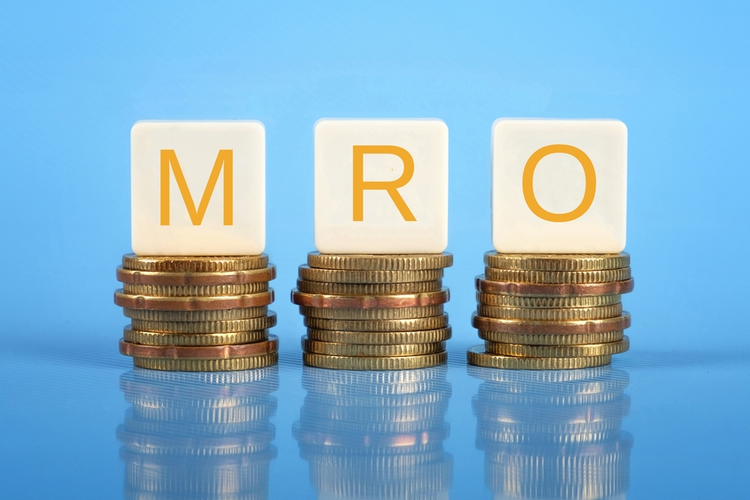 The letters 'M', 'R', and 'O' atop coins.