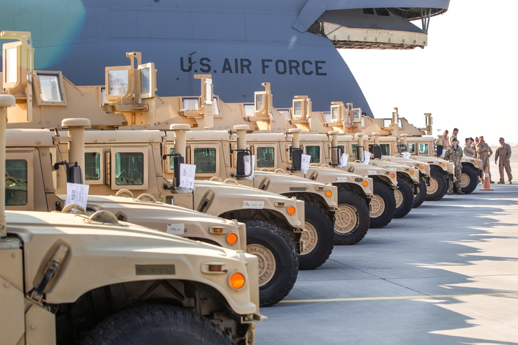 Line of humvees.