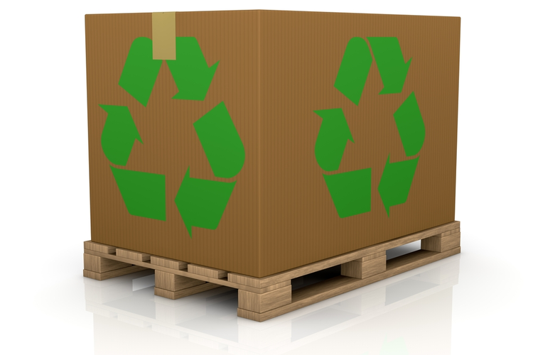 Sustainable packaging on a wooden pallet.