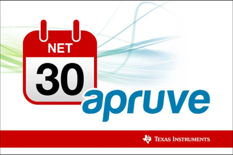 Image showing net 30 financing and apruve with a Texas Instruments name and logo.
