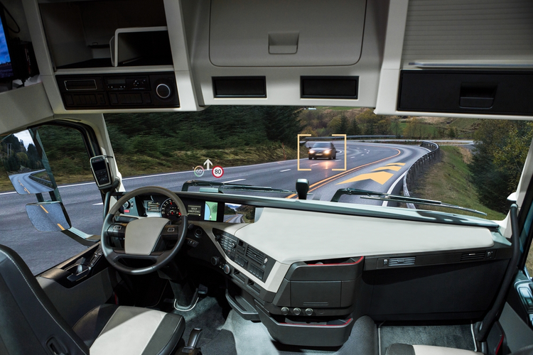 Self driving truck with head up display on a road