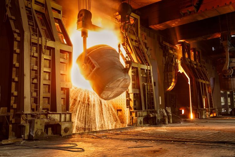 Metal smelting furnace in steel mills.