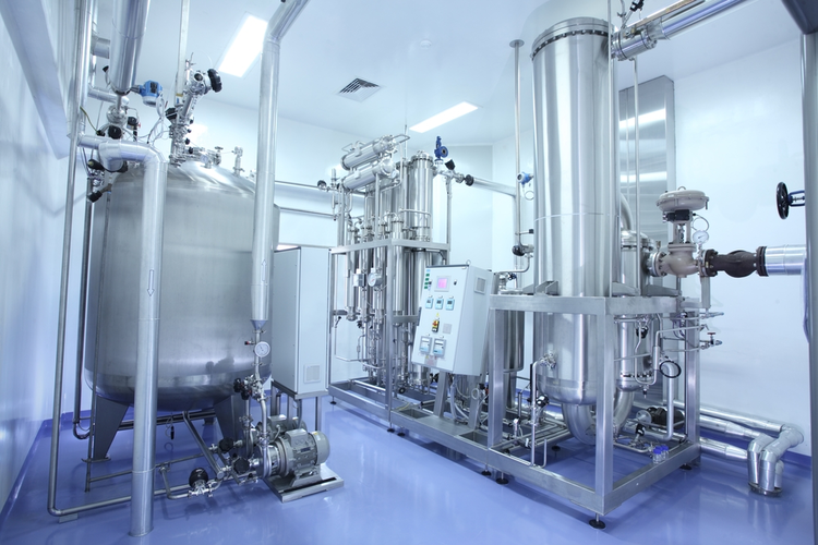 Tanks in the manufacturing facility of a pharmaceutical factory.